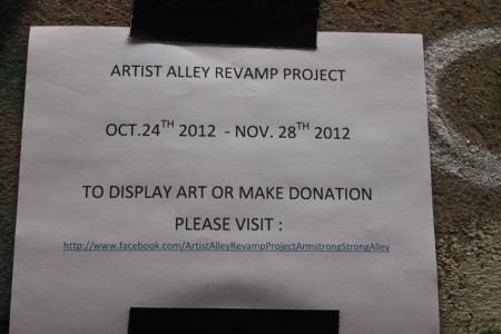 Flier posted throughout Armstrong Alley, Knoxville, October 2012