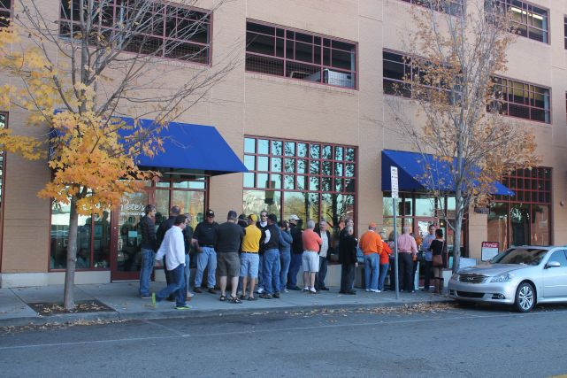 Line Outside Pete's Coffee Shop, Knoxville, Fall 2012