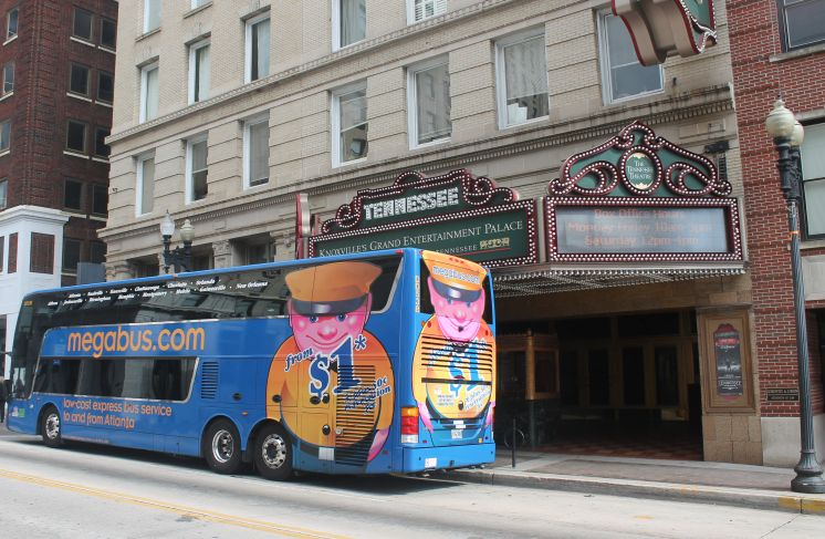 Megabus on Gay Street, Knoxville, Fall 2012