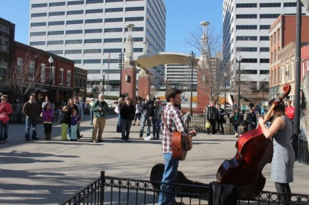 A Crowd Gathers for Alex Culbreth, Market Square, Knoxville, February 2013