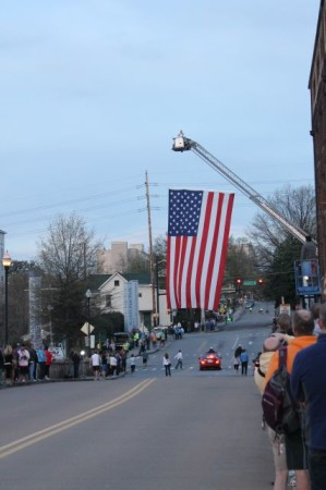 American Flag on Clinch Avenue, Knoxville Marathon, April 2013